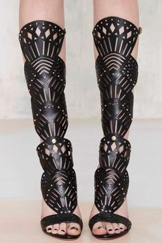 Schutz Brasiliania Knee-High Leather Heel - Heels   Open Toe   Shoes   Back In Stock