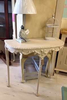 Ornate Shabby Chic Half Moon Table