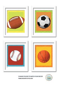 Balls Art Prints, Sporty Day, Wall Decor for kids, Gift for boys, Sports Artwork, Birthday Gift on Etsy, $38.00