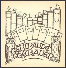 Tacke Eberhard Exlibris Bookplate Owl Eule Hibou Gufo Sowa Bird Vogel s379a