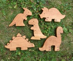 DINOSAUR SET 5 Wooden Toy Animals Cherry all by SnapdragonToyCo, $60.00