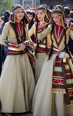 Participants Of Georgian Folk Autumn Festival 2011 in Tbilisi, wearing Adjarian traditional costume. These are recent workshop-made copies, as worn by folk dance groups.