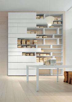 LINE Bookcase by ALBED by Delmonte design Daniele Lo Scalzo Moscheri Furniture Plans, Furniture Design, Office Furniture, Modular Furniture, Luxury Furniture, Bibliotheque Design, Modular Walls, Bookshelf Design, Bookcase Shelves
