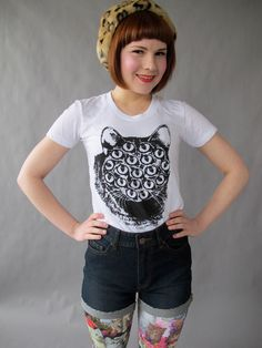 Mutant Kitty Tee Shirt by PrettySnake on Etsy https://www.etsy.com/listing/128545014/mutant-kitty-tee-shirt