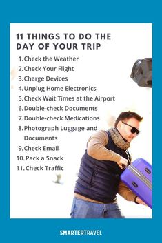 Before you leave for distant lands and untold adventures, it's essential to run through a pre-trip to-do list. Failure to do so will result in that nagging feeling you've forgotten something. (And that nagging feeling is usually right.) Achieve peace of mind at the very start of your journey by ticking off the following crucial tasks ahead of your departure. Travel Stuff, Travel Tips, Flight Status, Weather Predictions, Time To Leave, The Longest Journey, Check Email, Local News, Carry On Bag