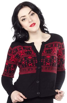 SOURPUSS+GINGERDEAD+CARDIGAN+BLACK+-+We+know+how+much+you+love+our+Gingerdead+designs,+so+we+decided+to+make+an+awesome+cardigan+just+for+you!+This+cotton+yarn+cardigan+features+our+popular+Gingerdead+fair+isle+design+on+the+chest,+sleeves+and+back,+and+is+perfect+for+chilly+weather!