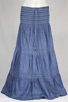 Crinkled Tiered Layers Long Jean Skirt 3: theskirtoutlet.com