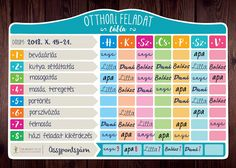 Otthoni feladat – tábla – csaladinaptar.hu Diary Planner, Household Organization, Chores For Kids, Konmari, Fancy, Cleaning, Diy, Advent, Home Decor