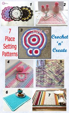7 place settings roundup free crochet patterns for you to enjoy. #crochet