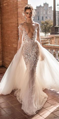 Beautiful gown with a very deep v neckline. Berta fall 2018 bridal long sleeves deep v neck heavily embellished bodice sexy romantic fit and flare mermaid wedding dress a line overskirt open scoop back chapel train mv -- Berta Fall 2018 Wedding Dresses Wedding Dress Tea Length, Sexy Wedding Dresses, Bridal Dresses, Wedding Gowns, Prom Dresses, Fall Wedding, Lace Weddings, Boho Wedding, Sheer Wedding Dress