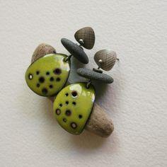 Bottom one looks like a mushroom, gives me thoughts,lol......................................................................Enamel and pebble earrings.