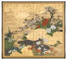 Flowers of the Season by Meandering Stream. Flowers of the Season by Meandering Stream. Japan, Meiji era Ink, mineral colors, gofun and gold on paper with gold leaf. x 74 inches x 188 cm). Art Occidental, Feuille D'or, Japanese Screen, Meiji Era, Peacock Art, Art Japonais, Art Et Illustration, Japanese Flowers, Korean Art