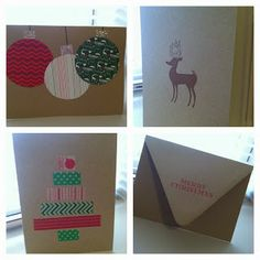 Easy and cute DIY Christmas cards using scrapbook paper and washi tape!