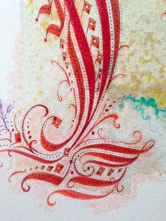Detail of Calligraphic Capital Letter, original design in watercolor inks on cold press board.