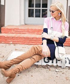 #pretty #winter #outfits /  Striped Print Dress // Camel OTH Boots