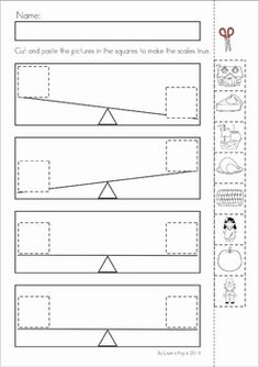 Kindergarten Thanksgiving Math & Literacy Worksheets and Activities. A page from the unit: Cut and paste the Thanksgiving elements to make the wight shown by the scales true