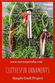 These clothespin Christmas ornaments are a great Christmas craft to make on your own or with your kids. They are fun and whimsical and the perfect accent to any Christmas tree.  These Ornaments can be made in no time at all with basic crafting supplies so give them a try this Christmas season.