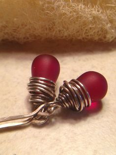 Cranberry Red Glass Earrings Red Matte Glass by LadonnaStudio, $26.00