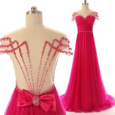 Hot Pink Prom Dresses,Backless Evening Gown,Sexy Formal Dress,Beaded Prom Dresses