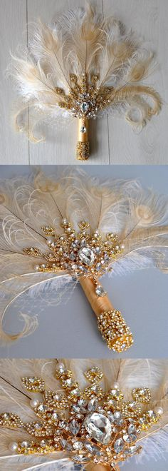 Gold Bridal Fan brooch Bouquet Ostrich Big alternative Feather Fan Bridal Bouquet Ivory Great Gatsby 1902s art deco wedding Roaring 20's bouquet. Mardi Gras Parade Wedding Outfits Ideas. Bride or Bridesmaids. #mardigras #mardigrastheme #masqueradeball #mardigrascostumes #mardigrasoutfits #outfits #mardigraswedding #mardigrasideas #artdecowedding #outfitinspiration #affiliatelink #etsyfinds