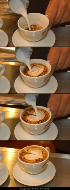 How to make a milk foam coffee heart.- tutorial Picture through pinthemall How to make a milk foam coffee heart.- tutorial Picture through pinthemall Coffee Latte Art, Coffee Shop, Coffee Company, Coffee Lovers, Coffee Drinks, Coffee Cups, Coffee Coffee, Coffee Girl, Coffee Tables
