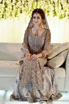 You should always try to select with the light and soft shades of color combinations for the designer walima dresses 2017 such as white, soft pink, purple, Walima Dress, Pakistani Formal Dresses, Pakistani Wedding Outfits, Pakistani Dress Design, Bridal Outfits, Indian Dresses, Shadi Dresses, Indian Outfits, Asian Wedding Dress