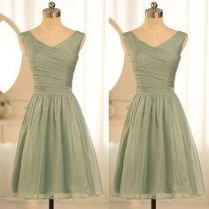 Simple V neck Short Bridesmaid Dresses,Cheap Dusty Green Dress.FS510