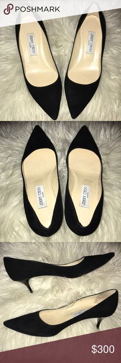 Jimmy Choo black pointy toe pumps - Romy 60 Used but in good condition. Heel tips were recently replaced on 1.4.2018. I would recommend going to your local shoe  repair shop and having them soled and add heel taps. This can cost roughly $30-$60 depending on where you go.   These are authentic. Shoes only, box and dust bag not included.  60mm heel height Jimmy Choo Shoes Heels