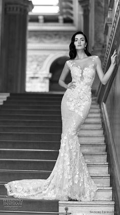 signore excellence 2017 bridal illusion cap sleeves sheer scoop plunging neckline fully embellished beautiful sexy sheath wedding dress chapel train (eden) mv