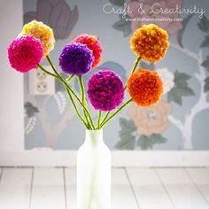 Flowers made with pom-poms