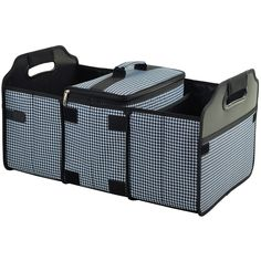 Picnic At Ascot Trunk Organizer and Cooler Set - Houndstooth Black and White - This durable 3 section trunk organizer has a removable Thermal Shield insulated cooler. Great for keeping sports gear, cleaning supplies and groceries organized.