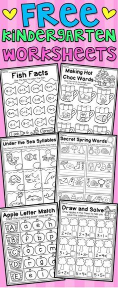 Free kindergarten math and language arts worksheets. This free pack includes six math and literacy worksheets for kindergarten. The worksheets relate to CVC words, addition, subtraction, uppercase letters, syllables and spelling. I hope you enjoy!