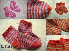 Small striped socks for little feet Striped Socks, Knitting Socks, Knit Socks, Baby Booties, Knitting Projects, Boy Or Girl, Pattern Design, Knit Crochet, Gloves