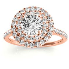 Allurez Diamond Double Halo Engagement Ring Setting 14k Rose Gold... ($1,428) ❤ liked on Polyvore featuring jewelry, rings, 14k diamond ring, rose gold engagement rings, diamond rings, rose gold diamond ring and rose gold ring