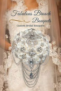 Fabulous Brooch Bouquets is pleased to offer this stunning wedding bouquet. This cascading brooch bouquet features a gorgeous rhinestone center brooch on a bed of white or ivo Wedding Brooch Bouquets, Bride Bouquets, Flower Bouquet Wedding, Dream Wedding, Wedding Day, Bling Wedding, Elegant Wedding, Wedding Venues, Bridal Packages