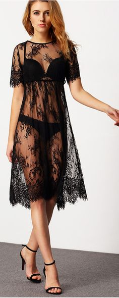 A midi dress made from sheer Lace with short sleeves, a scoop neckline, Emboreied with eyelash lace look more chic, cool and refreshing . It is a best choice for you to wear this dress on beach ,You will be the most beautiful scenery at the beach.