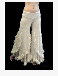 OffWhite Lace Swan Pants  belly dance tribal by dreamingamelia, $130.00