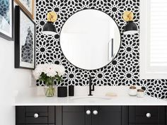 Before and After: An Affordable Black-and-White Bathroom - that wallpaper!