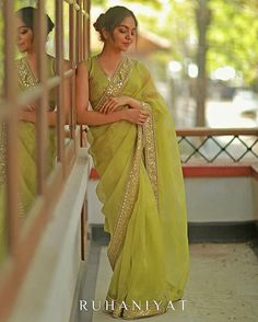 """""""Ruhaniyat"""" Featuring - Acid green organza Saree with ghota pathi and mirror worked border paried with a silk blouse . 🌸 For orders and enquiries , kindly whatsapp to 8129387333 ! Trendy Sarees, Stylish Sarees, Fancy Sarees, Party Wear Sarees, Simple Sarees, Dress Indian Style, Indian Fashion Dresses, Indian Designer Outfits, Indian Wear"""