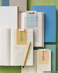 Magnet Bookmarks:  Surprise Dad with a stylish shirt-and-tie combination for his books. Secured with a couple of magnets, the fold-over page holder will remind Dad how sharp he really is.  (Learn How to Make This Gift via Martha Stewart)