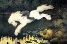 'Boy on white horse' (c. 1890-1909) by Theodor Kittelsen. (Public Domain) This image shows a boy riding a water spirit nykk (neck) in the form of a horse while it leaps into the water.