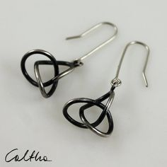 Tangled - silver earrings - also as clips, rock style, metalwork, dangling, hanging, simple, elegant, gift for her