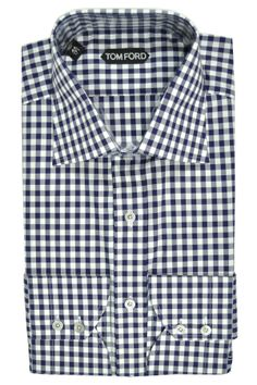 Dress shirt, Tom Ford check navy white, pin collar men shirt 50% off