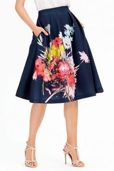 Be the ultimate fashionista with this navy floral full skirt!