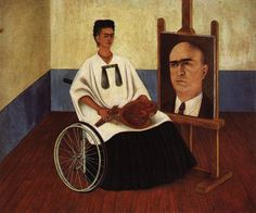 Self Portrait With Portrait Of Dr Farill Or Self Portrait With Dr Juan Farill 1951 by Frida Kahlo