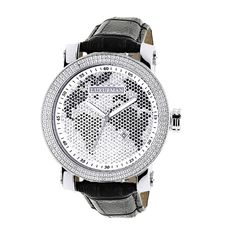 Luxurman Men's Black/ White World Map 0.18ct Diamond Watch with Strap Set