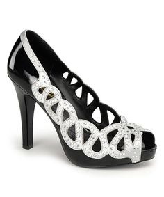 Look at this Pleaser USA Black Patent & Silver Ava Peep-Toe Costume Pump on #zulily today!