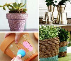 vasos-de-plantas-decorados com gliter