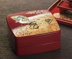 Jubako Bento Box Kyo style Red Lunch Box Yamanaka lacquerware Japan w/4 case