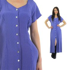 Polka dot Dress 1990s Grunge Maxi Button up short sleeve blue Sweetheart Neckline Sundress slouchy Large